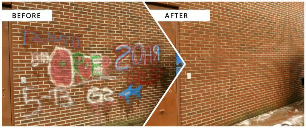 Graffiti pressure washed away
