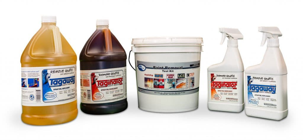 Graffiti removal solutions for professional pressure washers